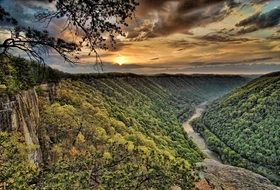 Panorama of the picturesque New River Gorge