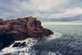 panorama of cliff and ocean waves in Britain