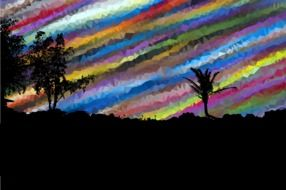 painted trees on a background of rainbow sky