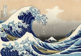 woodcut - the large wave before Kanagawa