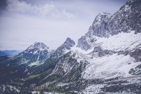 panorama of snowy mountain peaks