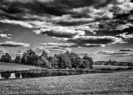 black and white image of the countryside