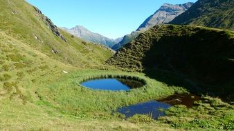 circular lake in the mountains of east tyrol