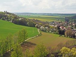 panorama of spring village in Germany