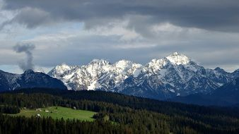 snow-capped mountains and green valley under cloudy sky, Poland, Tatry