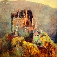 watercolor painting of a castle