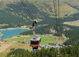Panorama of a cable car over summer Switzerland