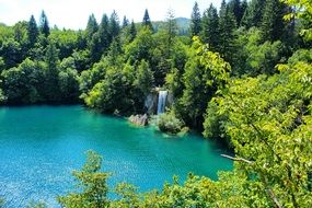 panorama of colorful plitvice lakes
