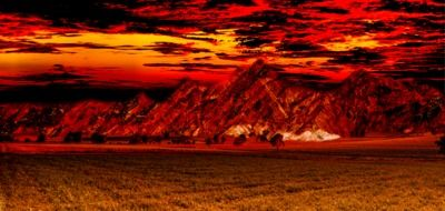 Red landscape of mountains