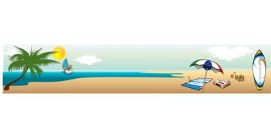 Sandy beach with palm in Crimea as a graphic illustration