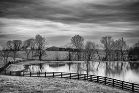 black and white picture of countryside