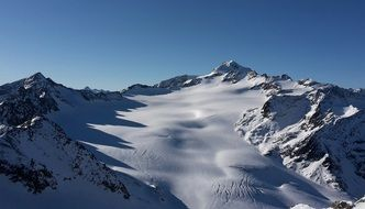 panoramic view of a snowy mountain range in austria