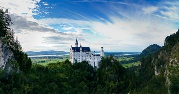 distant view of neuschwanstein castle in bavaria