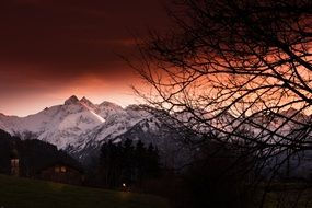 mystical sunset over the alps