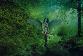 angel girl in the fairy forest