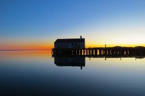 Wharf at calm sunset, usa, massachusetts, Provincetown, Cape Cod