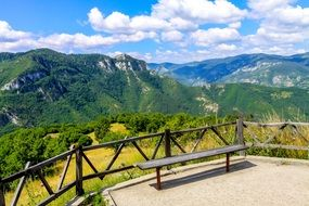 bench in Bulgarian mountains