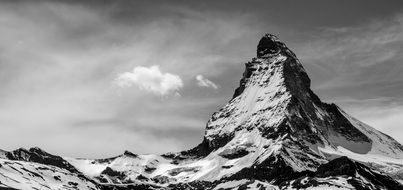 Black and white photo of mountains in Switzerland