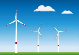 White and red wind turbines clipart
