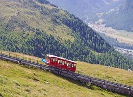 mountain railway on a slope in Switzerland