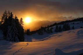 scenic Wintry Landscape, sunrise in Mountains, Italy