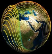 glowing waves around earth globe, drawing