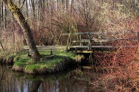 wooden ferry and wooden bench by the pond