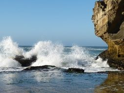 indian ocean waves on the rocky coast of south africa