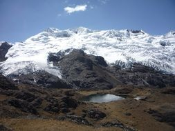 panorama of snow mountains in Peru