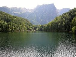 panoramic view of the lake piburgersee in the tyrol mountains