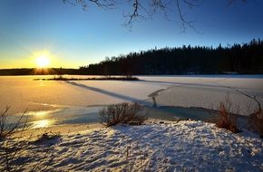 Frozen Lake Winter Landscape Sunset Twilight