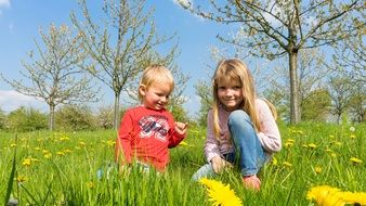 Children playing in Meadow