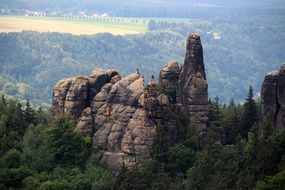 panorama of sandstone mountains in Saxon Switzerland