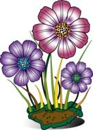 Colorful drawing of the decorative flowers clipart