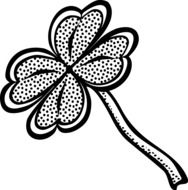 black and white drawing of clover leaf