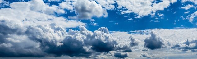 Cloudscape, Panorama of blue Sky with fluffy clouds