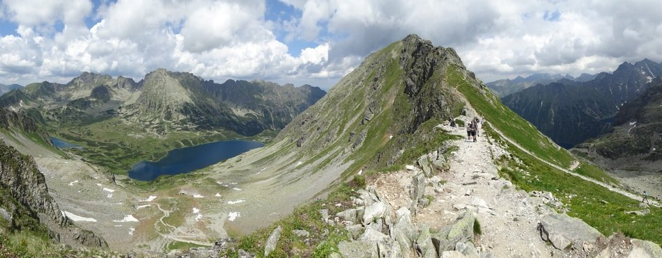 panorama of high Tatras and mountain lake