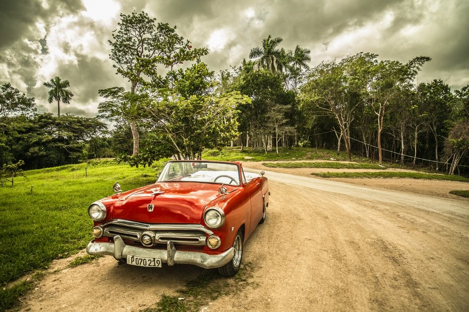 Old red car in Cuba