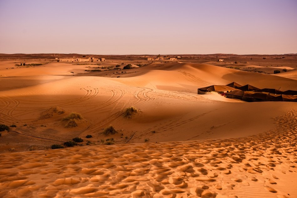 landscape of sand dunes in the desert in morocco