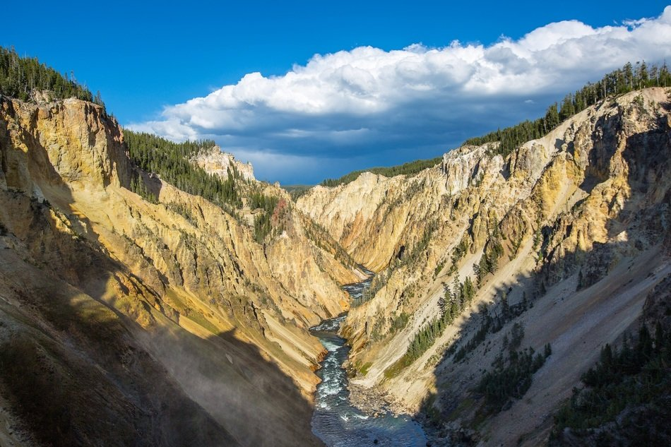 Beautiful panoramic view of the Yellowstone River in the canyon under blue sky with white clouds