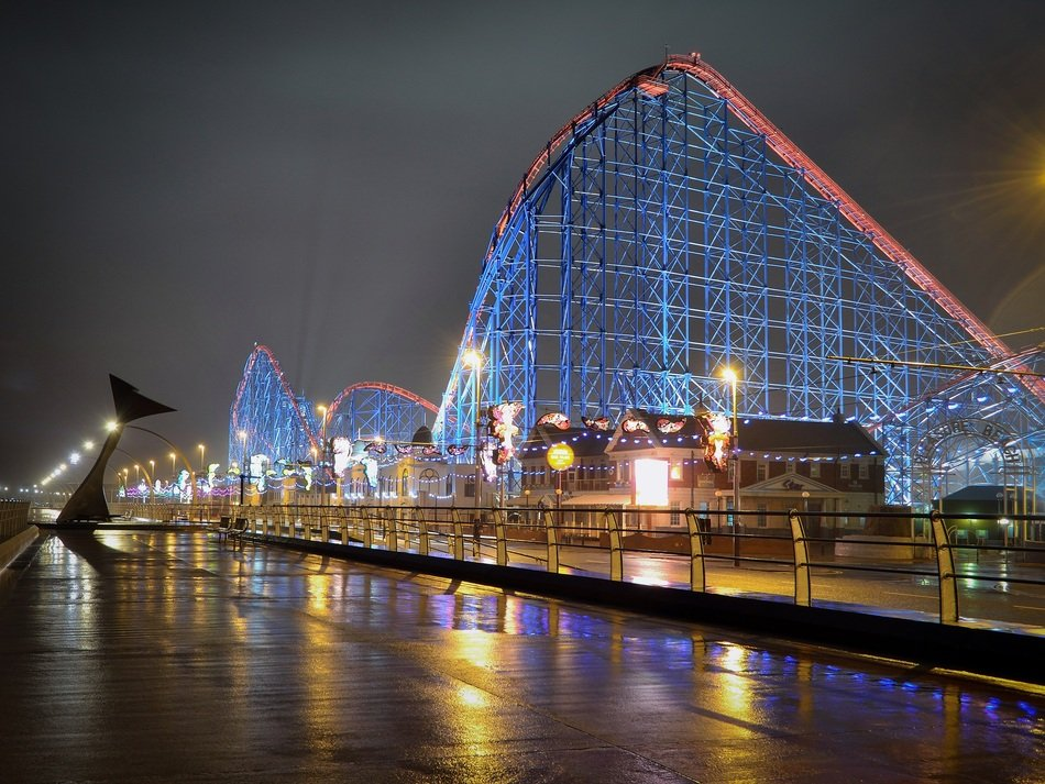 Grand National Roller Coaster at night, uk, England, Blackpool Pleasure Beach