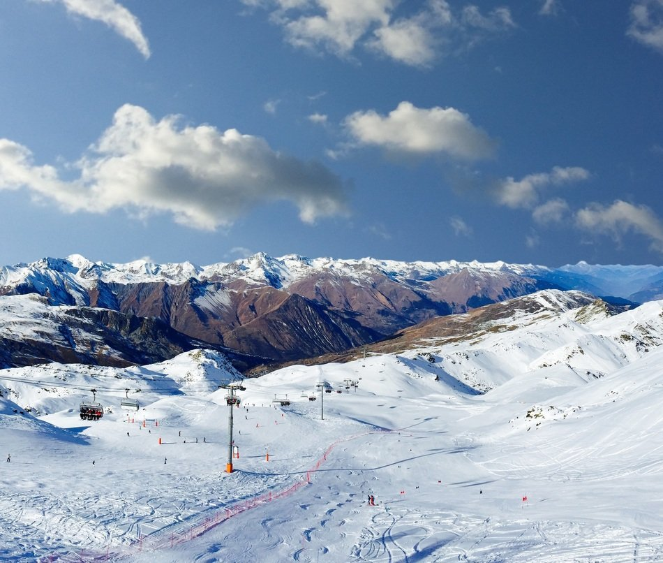 Panorama of a ski slope on a sunny day