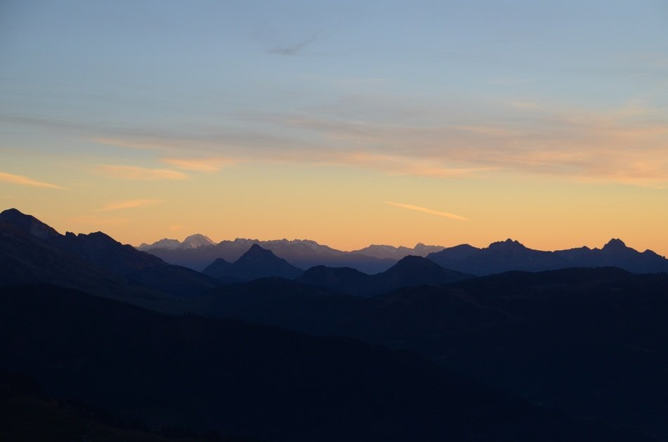sunset over the massif de Aravis in France