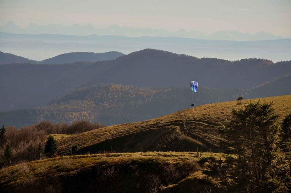 skydiver over the Vosges mountain range, France