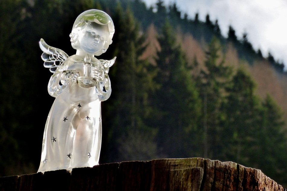 Glass angel figurine among the plants in Luxembourg