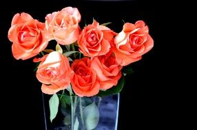 bouquet of bright roses in a glass vase