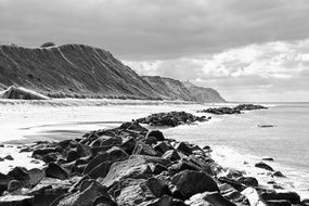 black and white image of the Norwegian coast