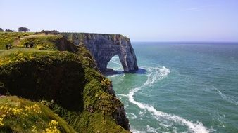 beautiful landscape of the mountain coast in Etretat
