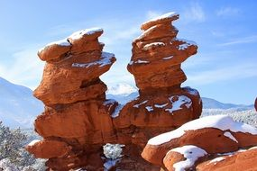 snow on the orange rocks in the Garden Of The Gods