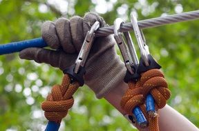 carabiners and hand on a rope